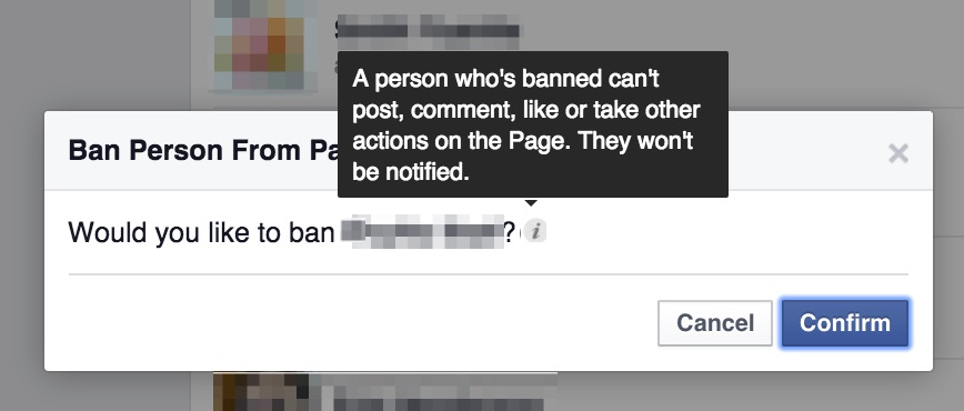 Ban a Facebook Page Like