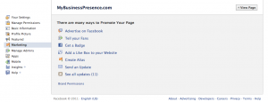 Edit the Marketing of your Facebook Fan Page
